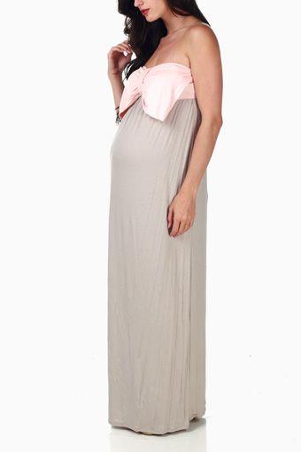d3232d471 Beige Pale Pink Bow Colorblock Maternity Maxi Dress | Wardrobe Wish ...