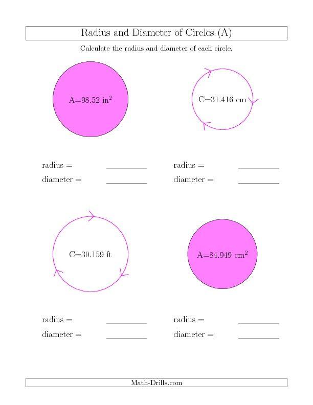 Printable Worksheets radius worksheets : Calculate Radius and Diameter of Circles (A)   Math   Pinterest ...