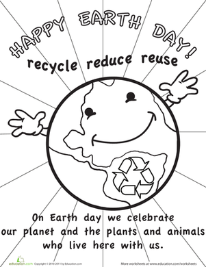 Color The Earth Day Picture Worksheet Education Com Earth Day Pictures Earth Day Coloring Pages Earth Day Worksheets