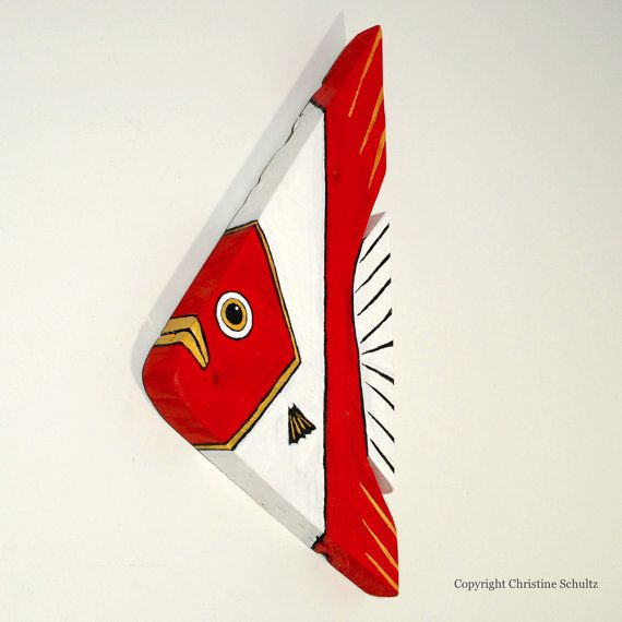 Wood Wall Art Red Fish Farmhouse Chic by TaylorArts on Etsy