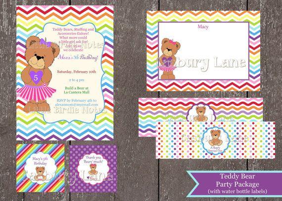 printable invitationteddy bear party packagebuild a by casburylane