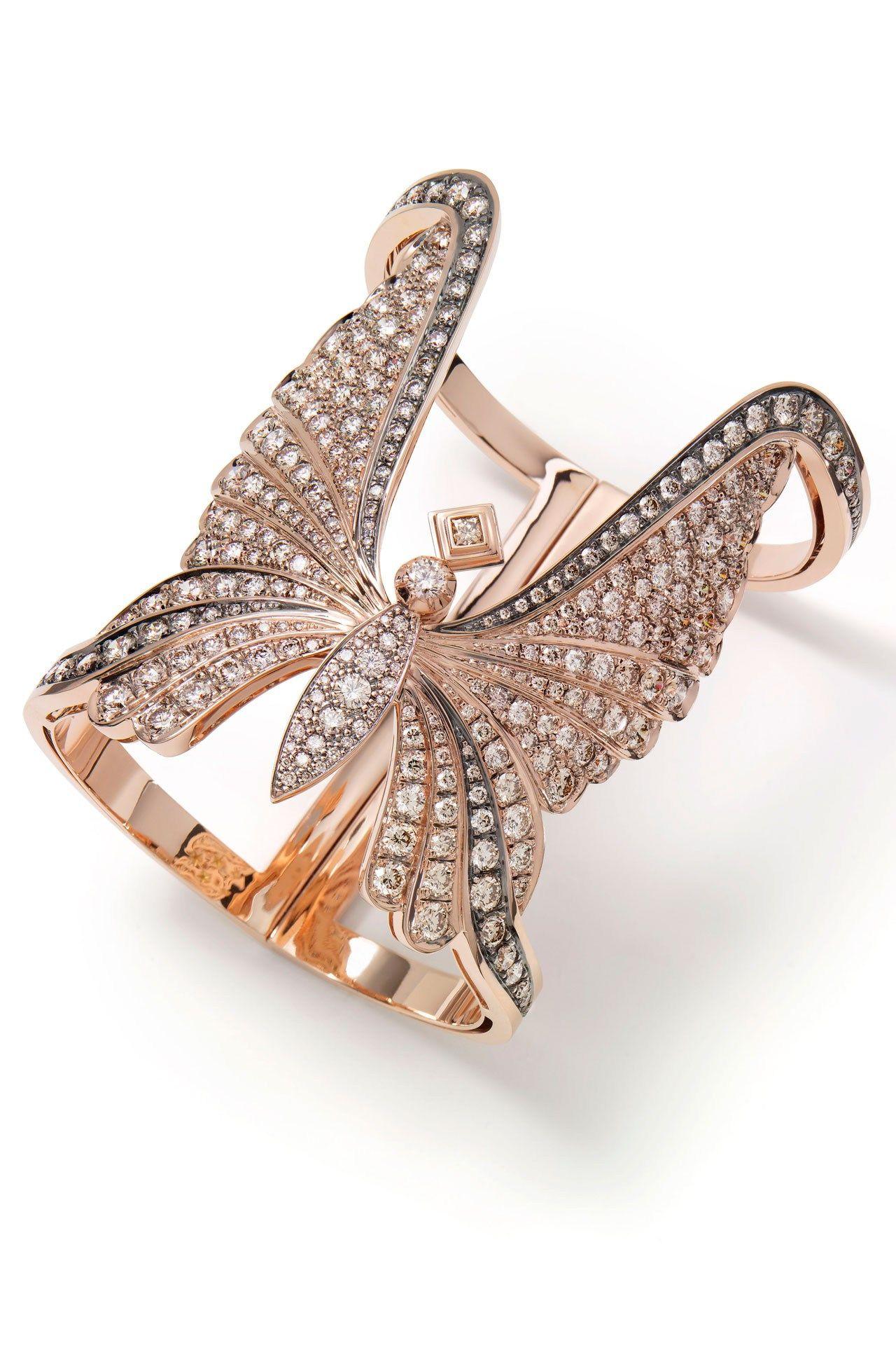 Suzy menkes nature takes geometric wing diamond rose and bracelets