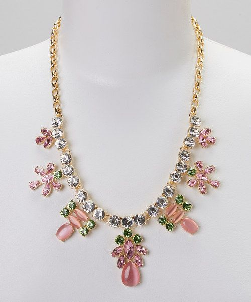 Look at this #zulilyfind! Sorta Southern Boutique Pink Rhinestone & Gold Floral Bib Necklace by Sorta Southern Boutique #zulilyfinds