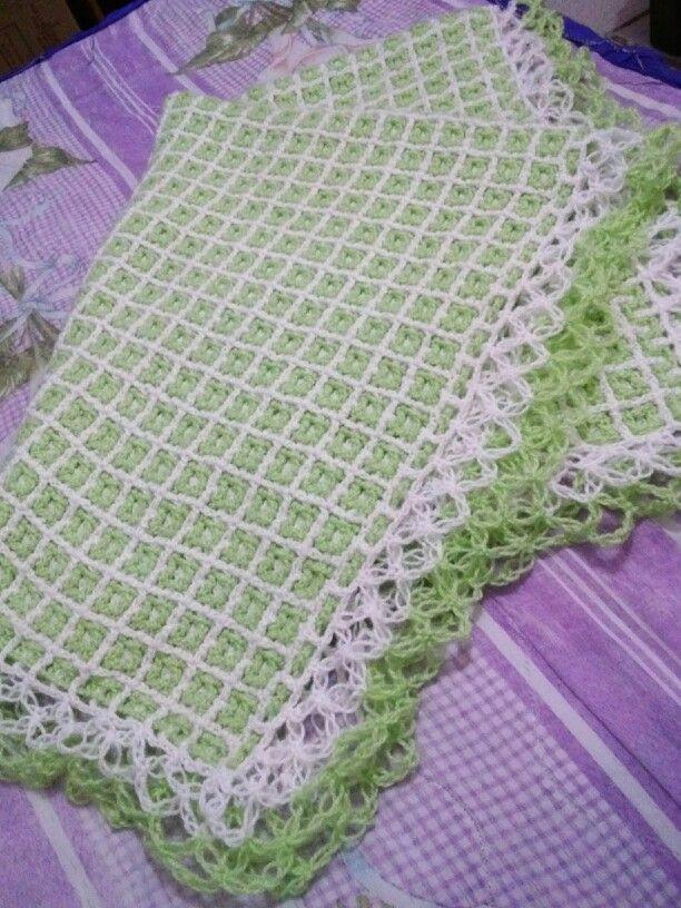 Cobija o manta para beb a crochet f cil y r pido - Manta de crochet facil ...