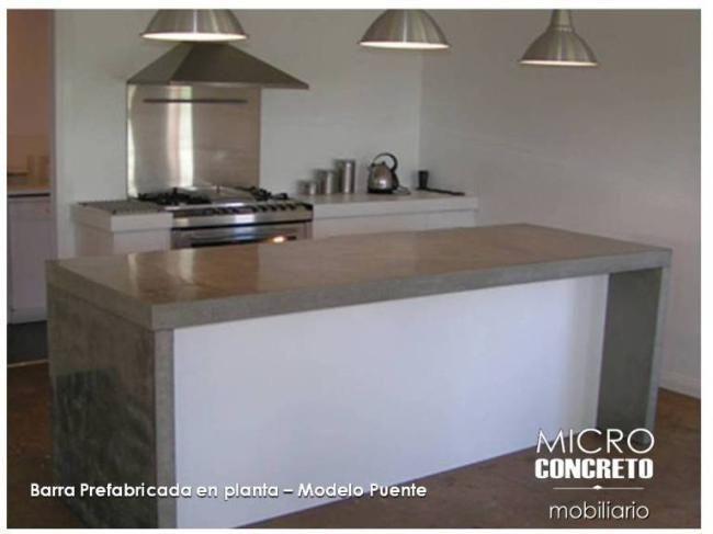 Barra cocina en microcemento cemento alisado hormigon for Barras de cocina modernas