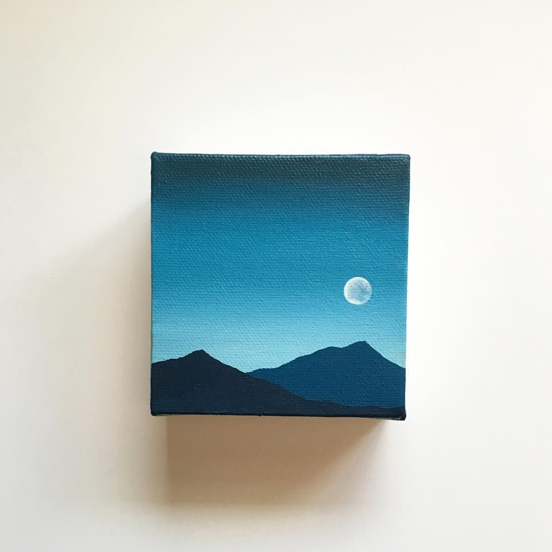 Blue Moon V. Acrylic Painting. 4x4 inches. $25 USD, available at my Etsy shop. (Link in bio). #art #acrylicpainting #artist