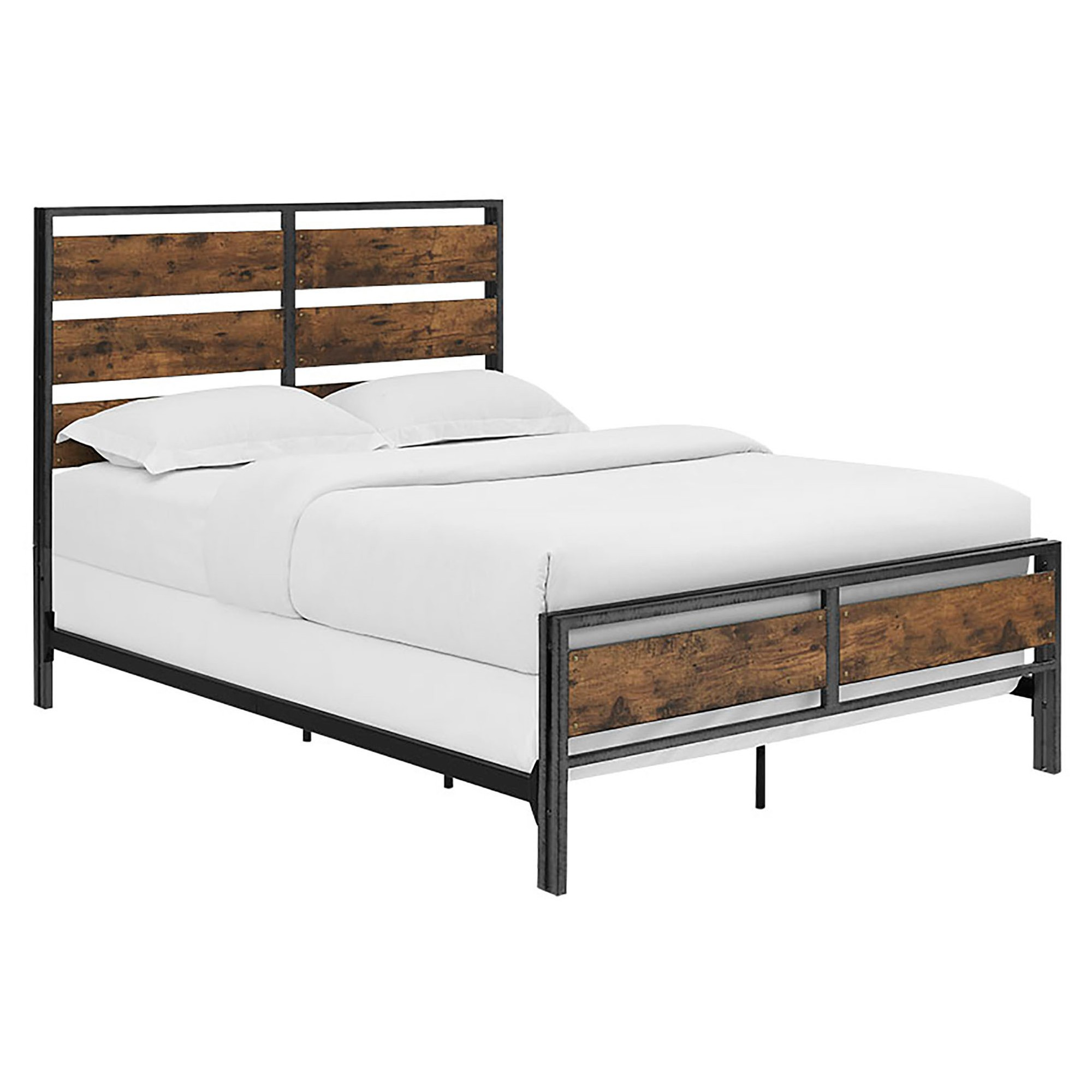 Queen Size Metal and Wood Plank Bed Brown Saracina