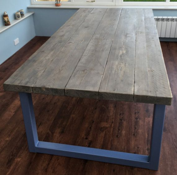 Reclaimed Industrial Chic Seater Dining Table Bar Cafe - 12 seater solid wood dining table