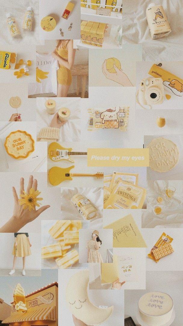 White And Yellow Aesthetic Seni Buku Kreatif Kertas Dinding