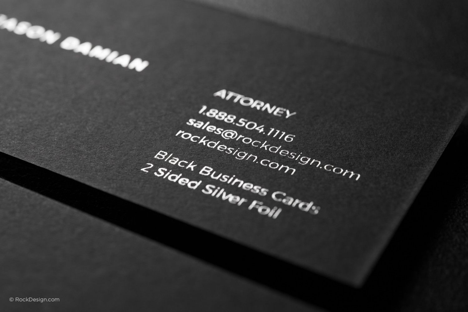 Modern Minimalist Black Duplex Business Card Template With Silver Foil Damian Co Business Card Template Black Business Card Business Card Design