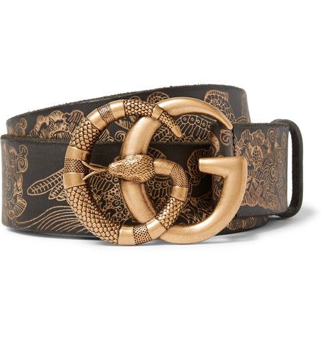 922092843 GUCCI GUCCI - 4CM BLACK EMBOSSED LEATHER BELT - GOLD. #gucci ...