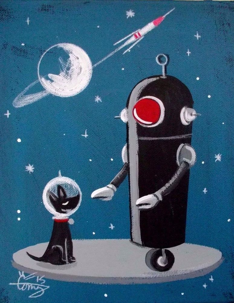 El gato gomez painting retro 1950s robot dog outer space for Retro outer space