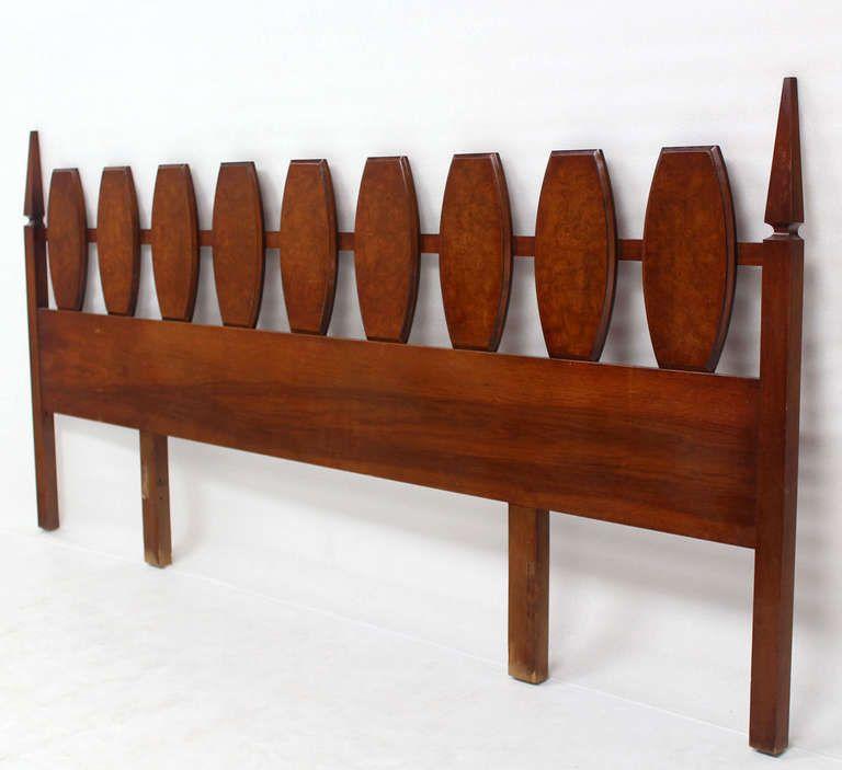 Best Mid Century Modern Walnut King Size Burlwood Headboard 102 640 x 480