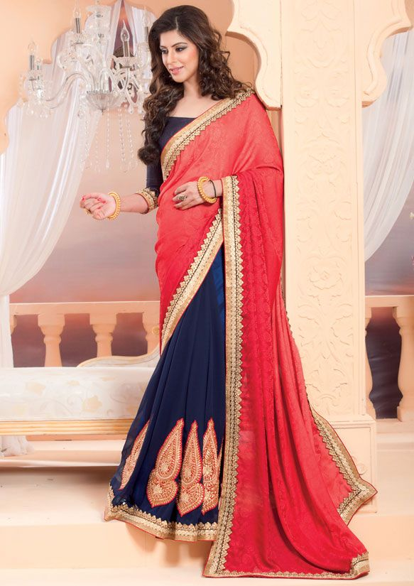 Sophisticated Navy Blue and Coral Red #Saree