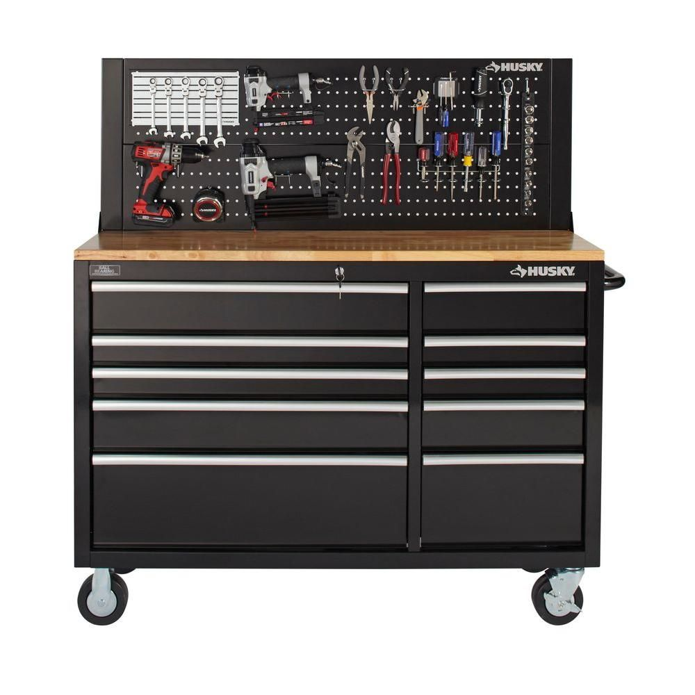 Husky 52 In Pegboard Back Wall For Tool Cabinet Black In