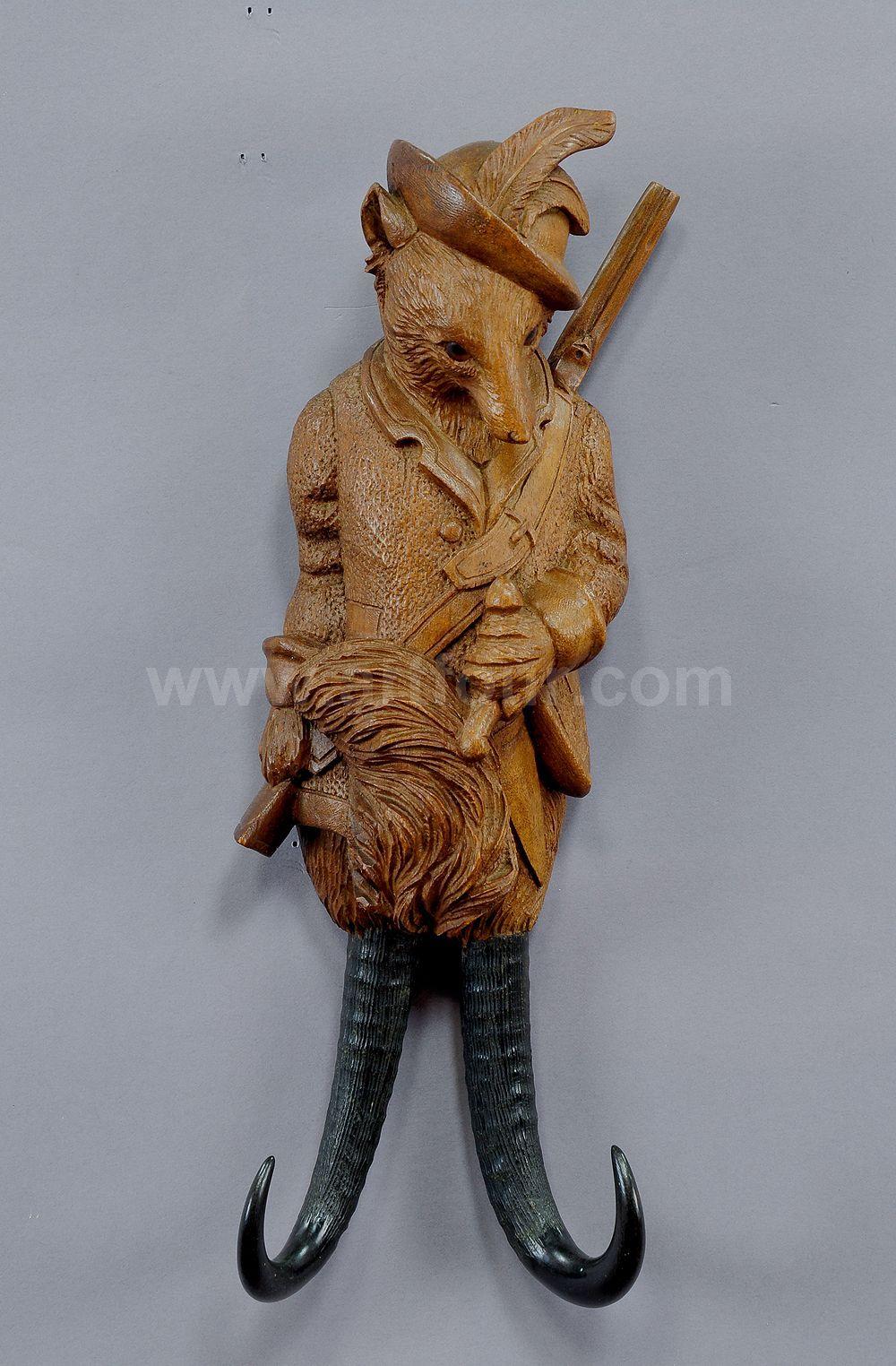 Antique Wood Carved Hunter Fox Whip Holder 1900 Antique Black