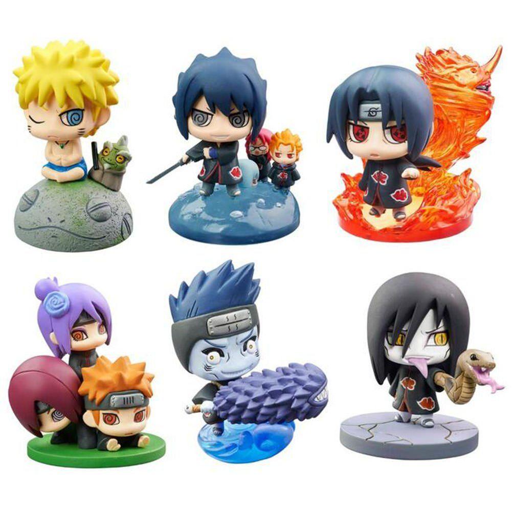 Naruto Shippuden Set of 6PCS Kakashi Sasuke Shikamaru Gaara Figures 6CM Gift NIB