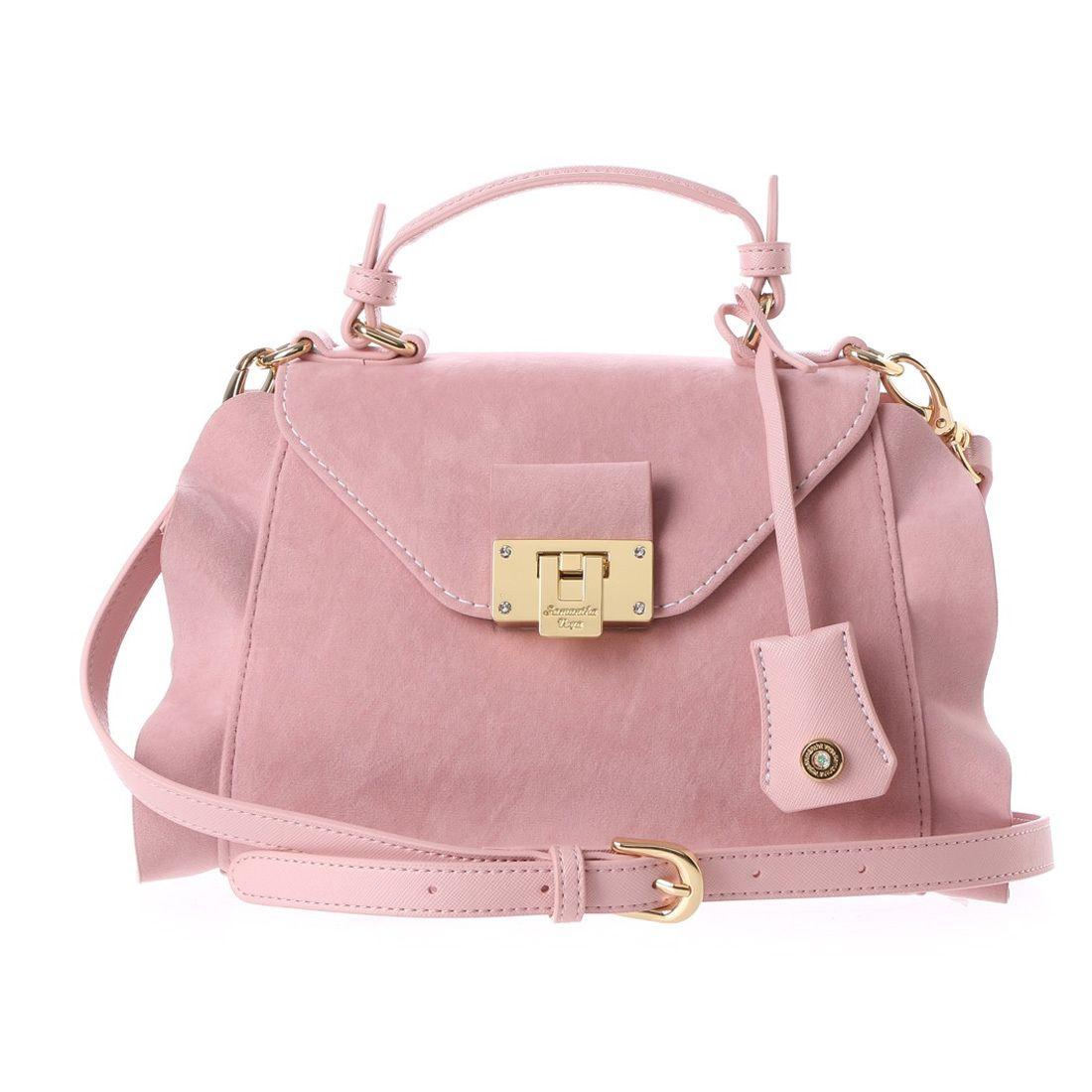 53ce7c33adb4 Samantha Thavasa サマンサベガ フリルベルベットレフィ(ピンク) -靴とファッションの通販サイト ロコンド