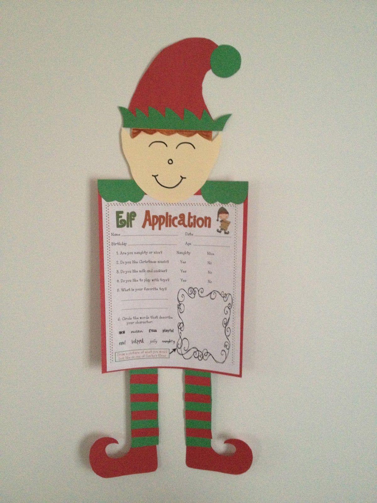 Elf Application First Grade Writing Prompt Worksheet Idea Elf