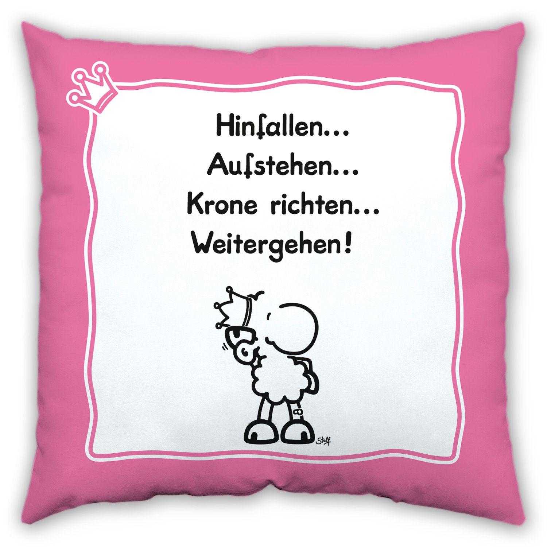 """Baumwollkissen """"Krone richten"""" von sheepworld. http://sheepworld.de/shop/nach-Serien-Motive/Krone/Baumwoll-Kissen-KRONE.html"""