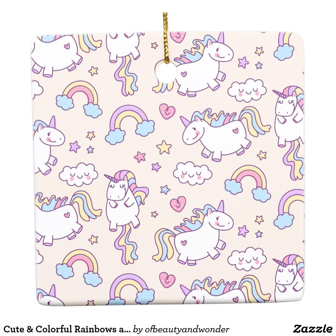 Cute & Colorful Rainbows and Unicorns | Ornament