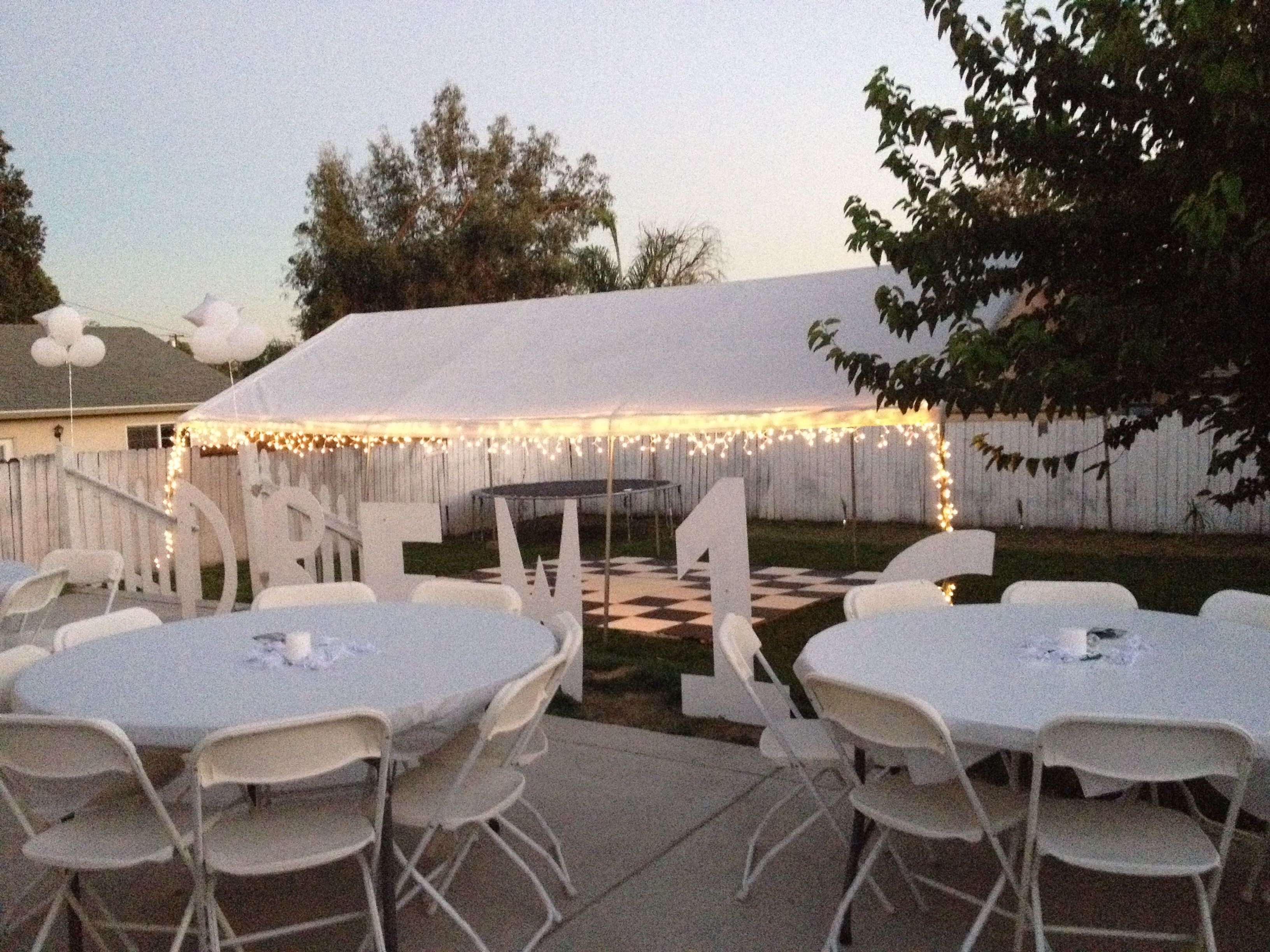 All white party backyard set up | Sweet 16 all White Party ...