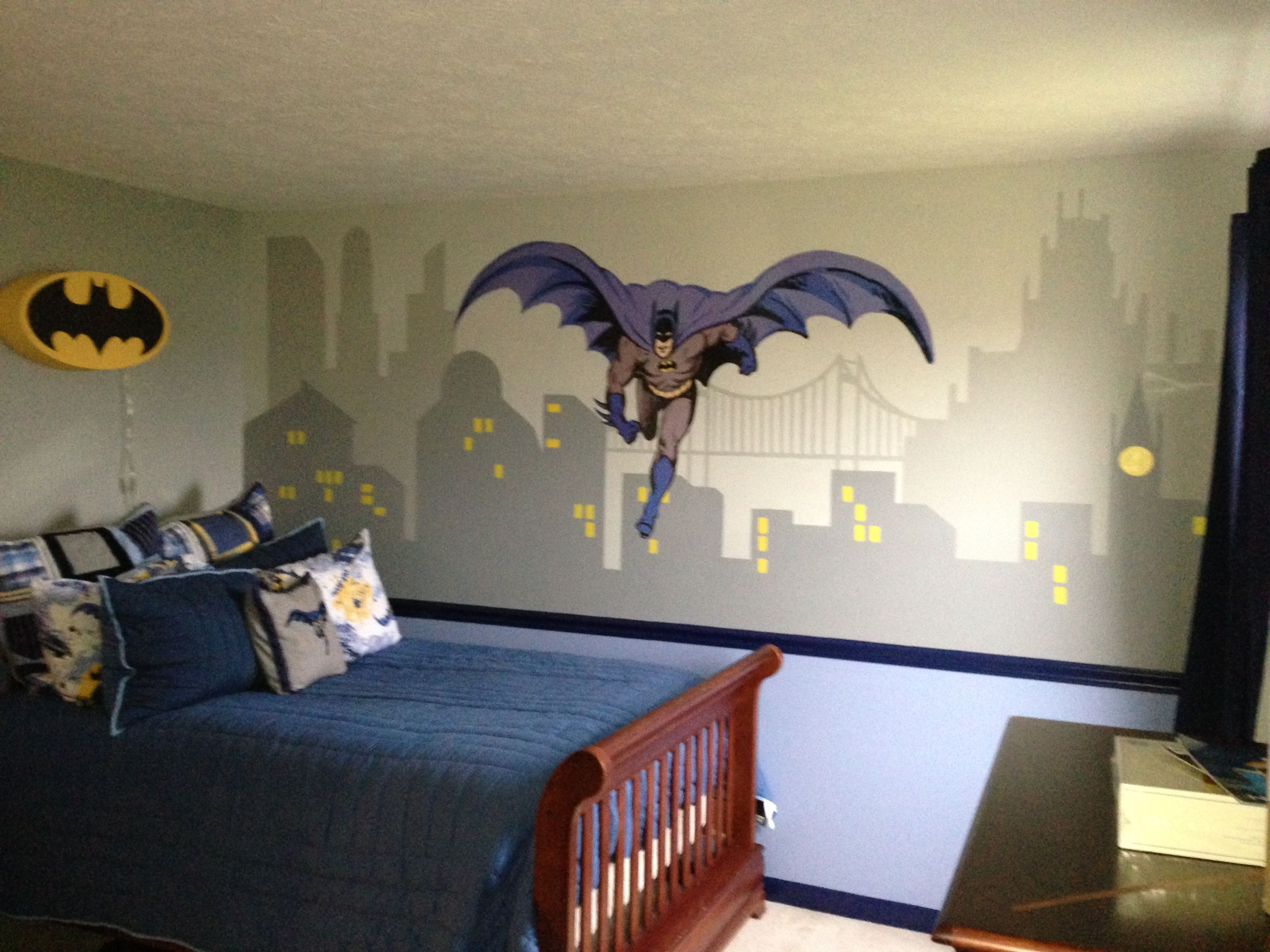 Pottery barn kids batman theme bedroom nursery decor Pinterest
