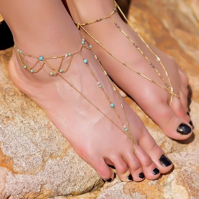 Turquoise Foot Jewelry Beach Barefoot Sandals Blue beaded gold