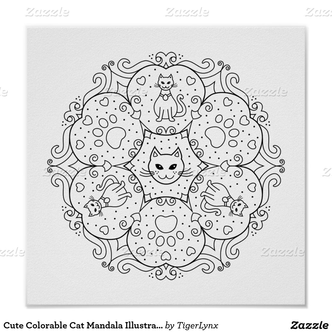 Zazzle poster design - Cute Colorable Cat Mandala Illustration Poster