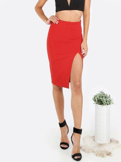 Falda de tubo cintura alta con abertura-Sheinside  29cb034e2718