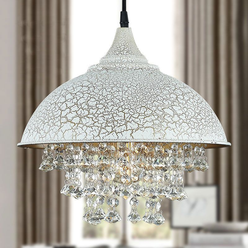 Buy white crackled iron single light crystal pendant light with dome buy white crackled iron single light crystal pendant light with dome shade with lowest price and mozeypictures Gallery
