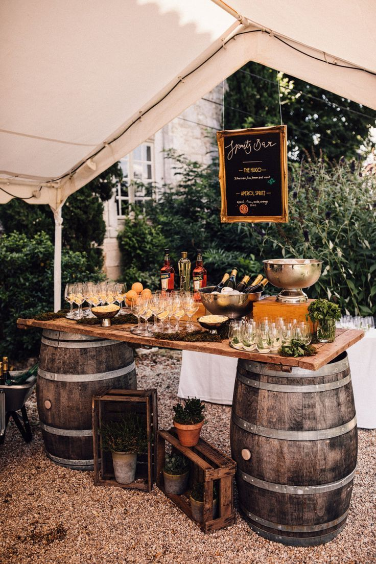 Rustic Aperol Spritz Bar on Barrel | Photographer: Samuel Docker | Venue: Chateau Rigaud | Location: France