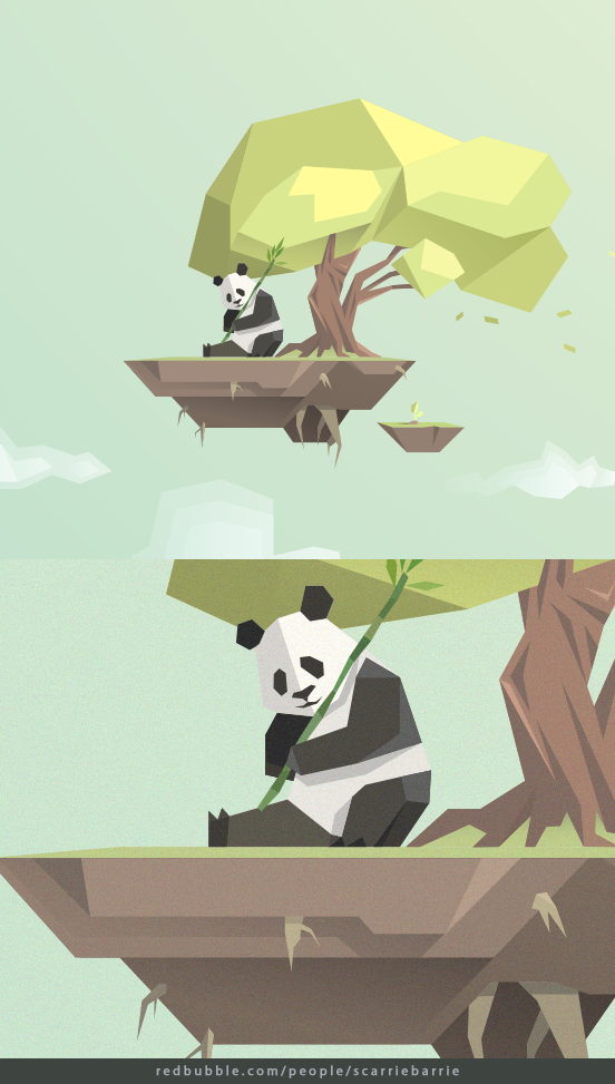 minimal low poly panda on a floating island lowpoly Low