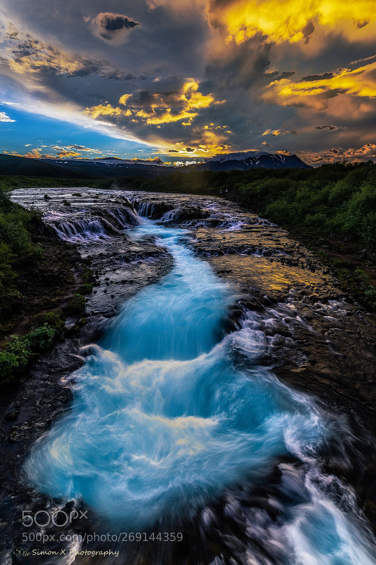 Bruarfoss Golden Hour By Simon Xu Iceland Sky Clouds River Nature Stream Waterfall Beautiful Nature Beautiful Landscapes Nature Photography