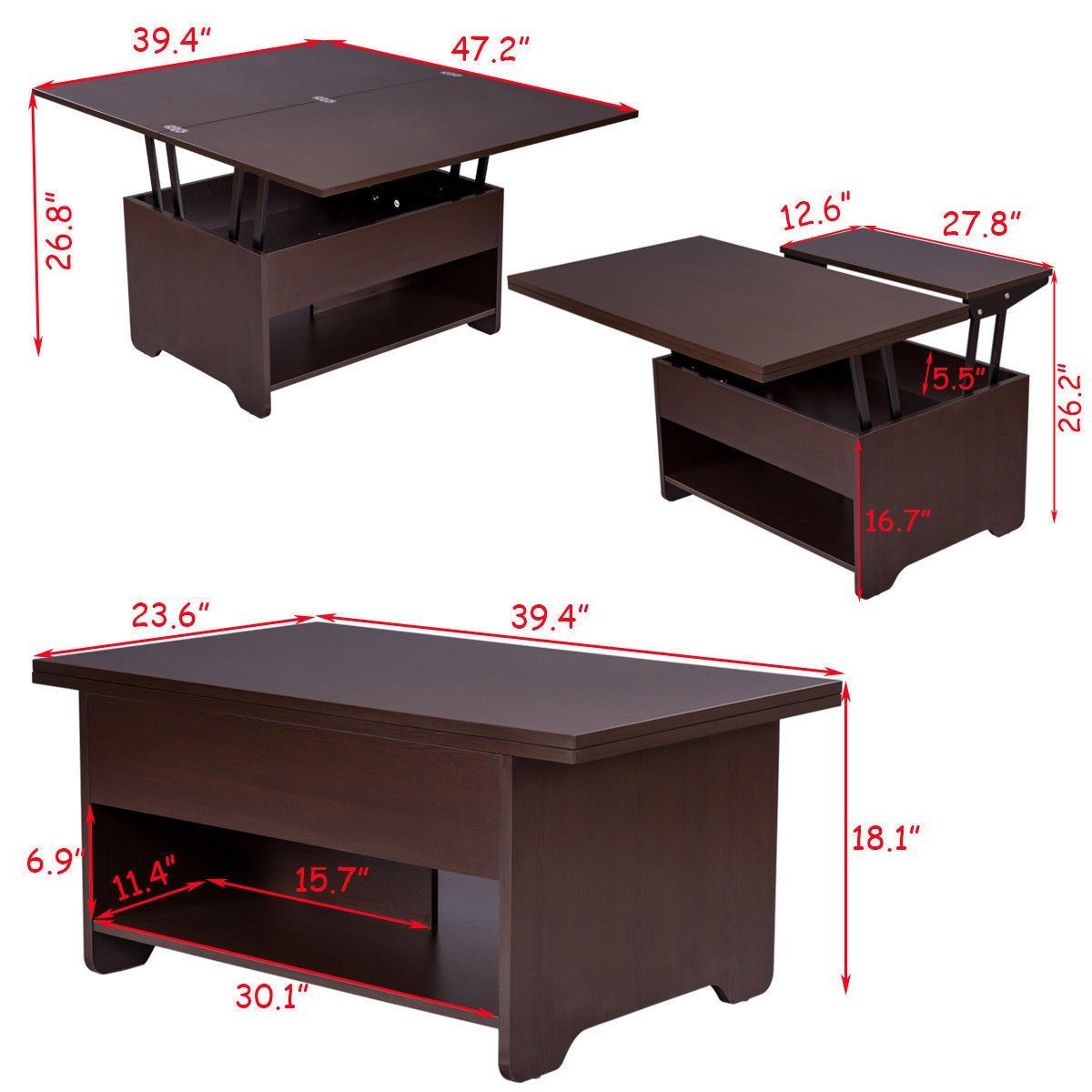 Coffee table 3 in 1 lift top with hidden storage