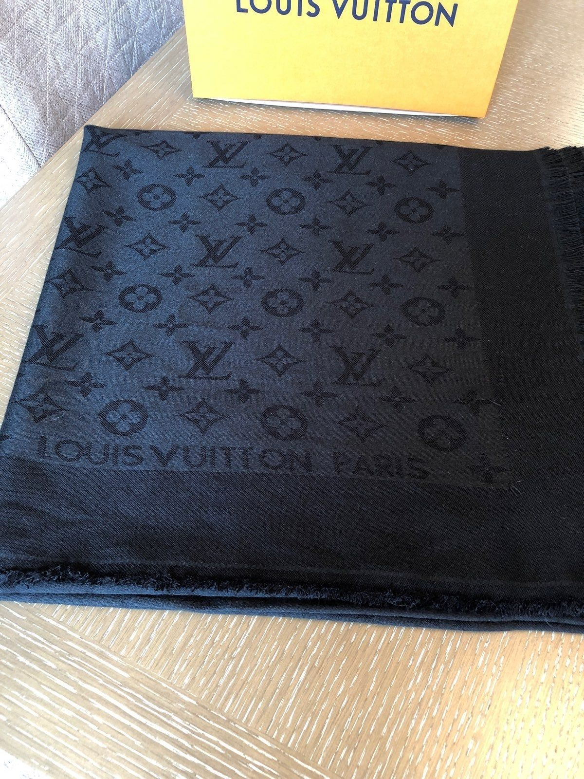 "Louis Vuitton Black shawl. Dimensions 56""x56"".I bought"
