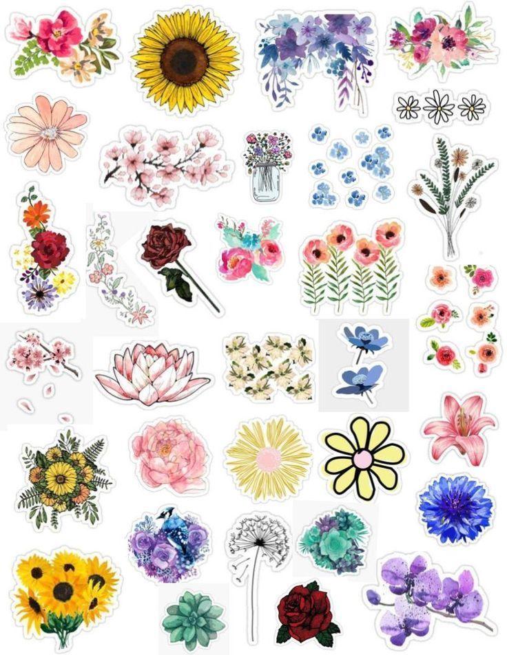 Blumen Sticker Pack Blumen Sticker Blumenzeichnung Tumblr Sticker Tapete Aufkleber