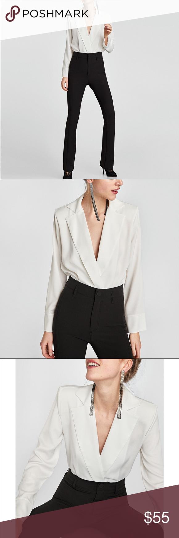 a139b496 NWT Zara White Bodysuit with Lapel Collar Bodysuit with crossover ...