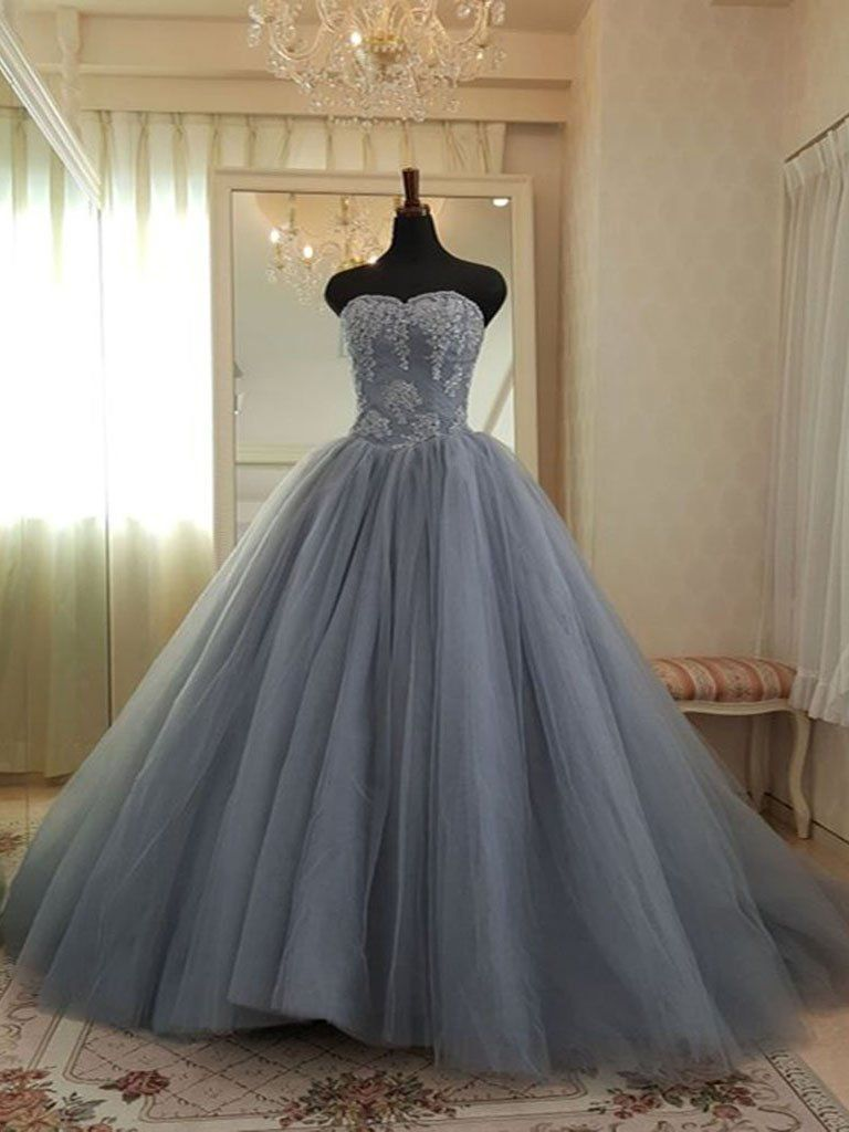 Ball Gown Prom Dresses Sweetheart Appliques Fashion Big Grey Prom Dress Chic Evening Dress Jkl1521 Ball Gowns Prom Dresses Ball Gown Chic Evening Dress
