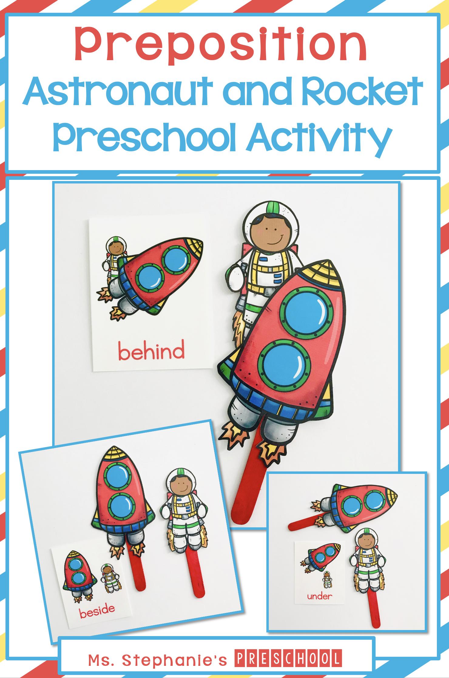 Astronaut And Rocket Preposition Preschool Activity In