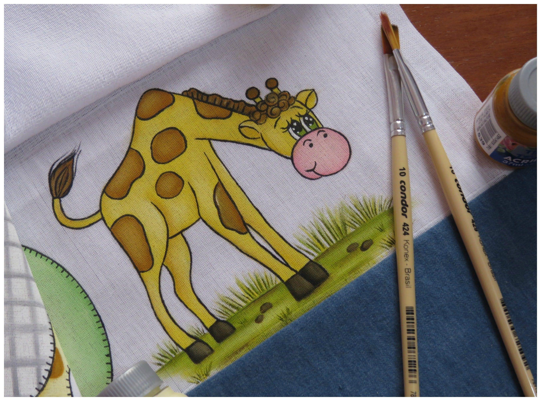 pintura em tecido uma girafa muito fcil de pintar