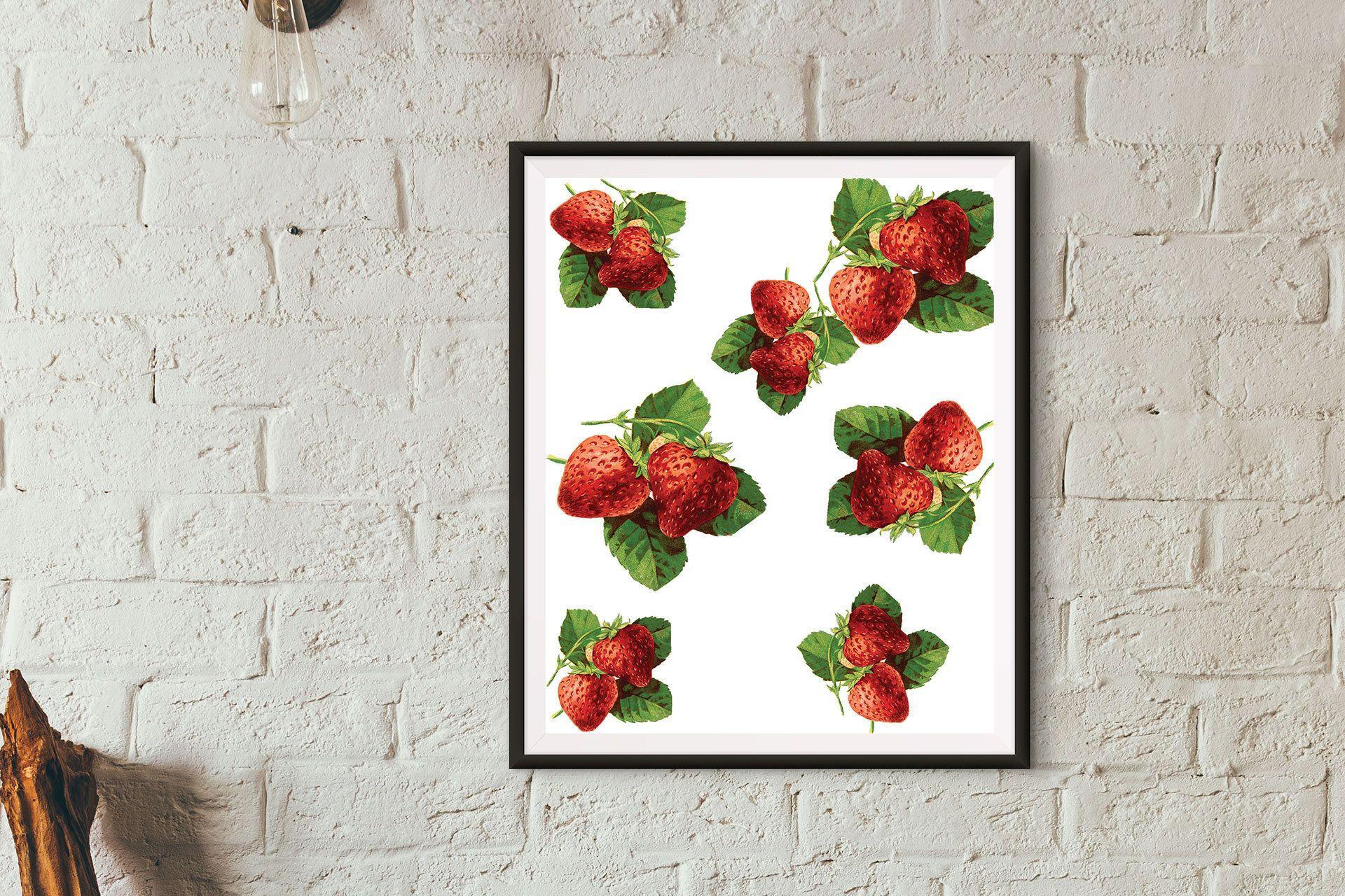 Strawberry printkitchen wall artfruit printfood art print