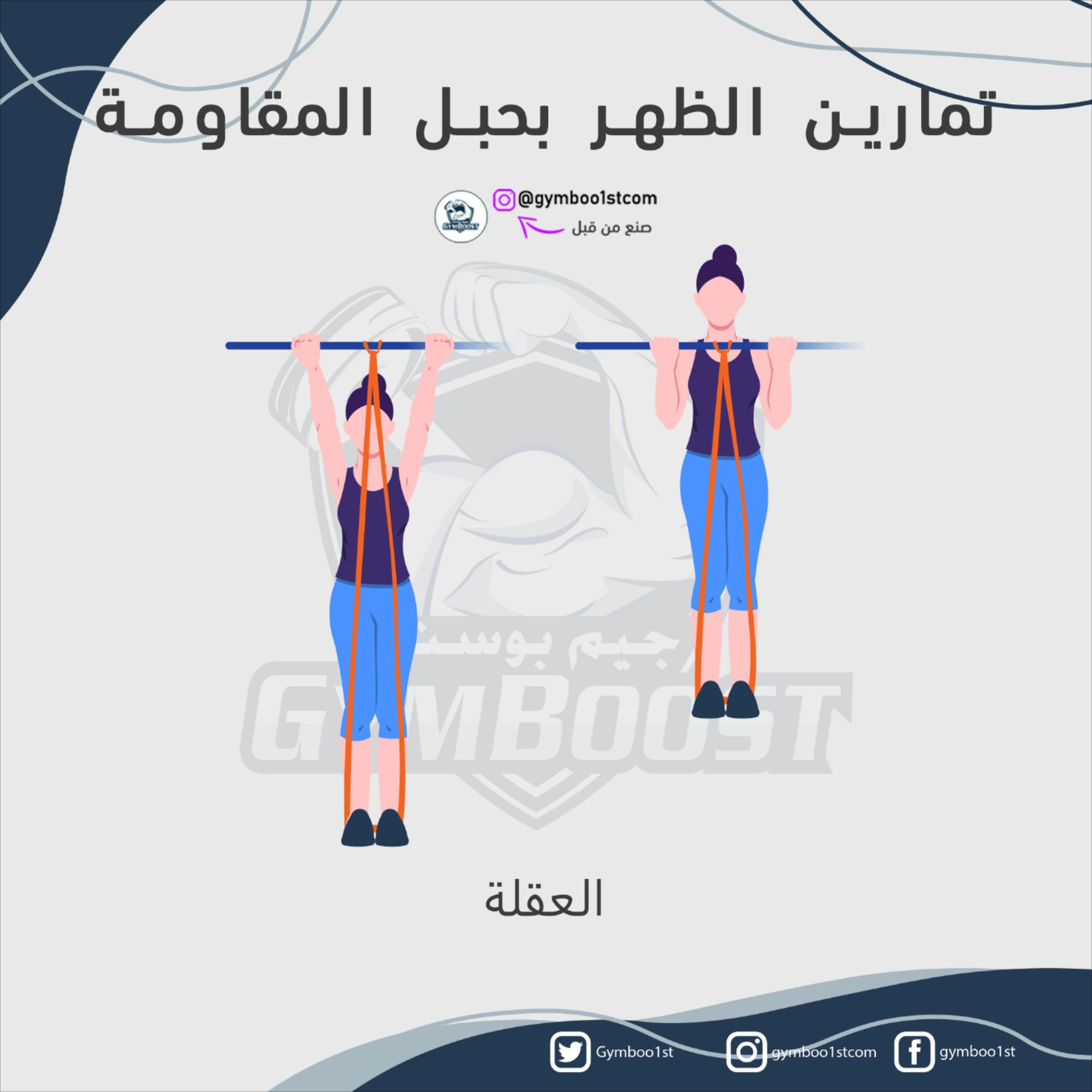 تمارين الظهر في المنزل بحبل المقاومة Workout Fitness Tips Gym