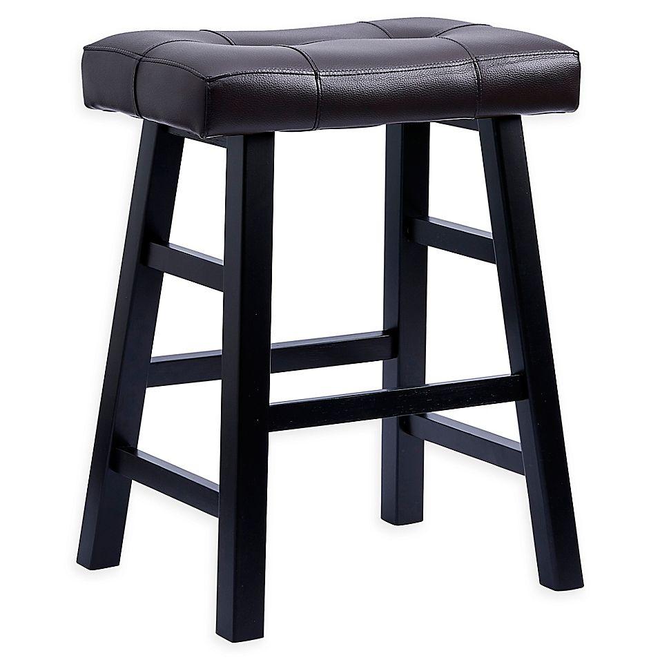 Padded 24 Saddle Bar Stool In Espresso Black Bar Stools Saddle Bar Stools 24 Bar Stools
