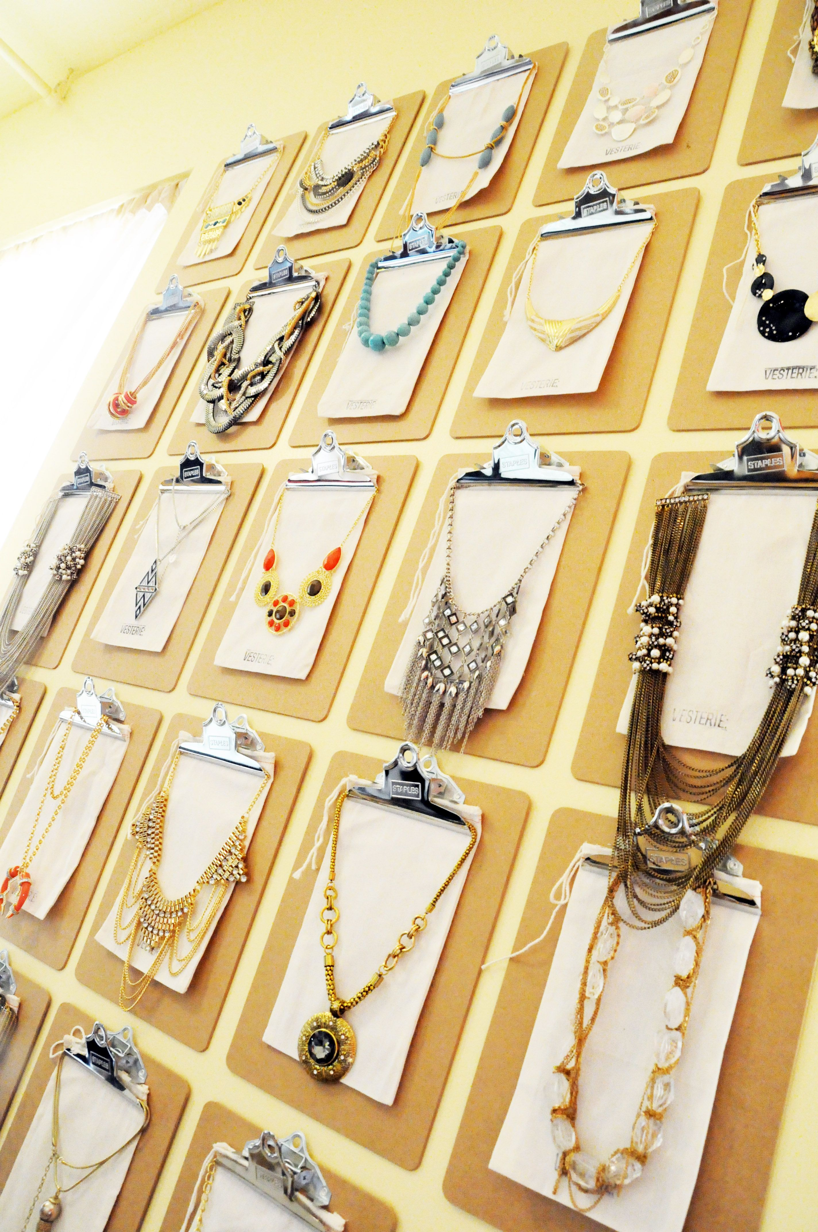 Presenting: the Vesterie Jewelry Display wall, my favorite DIY project ever! Clipboards and Velcro is all you need.