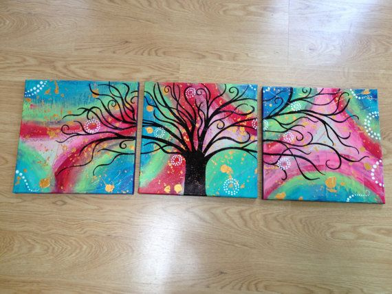 TieDye Acrylic Tree Painting 12x12in Canvases by KdsArtwork, $85.00
