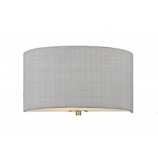 Renoir Semi Circular Wall Light With Silver Grey Silk Shade Wall Lights Fabric Shades Grey Walls
