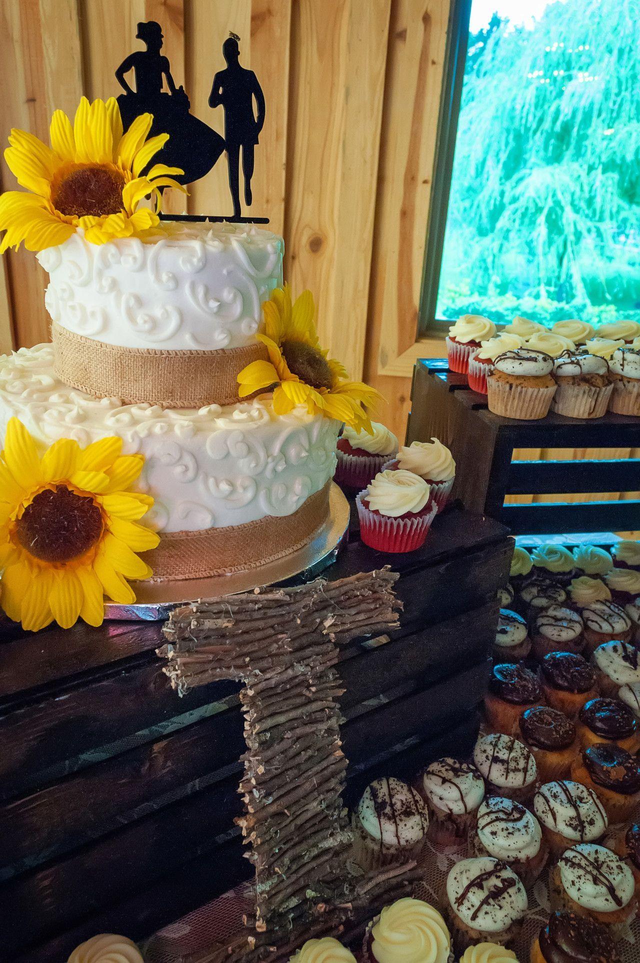 Sunflower wedding cake rustic wedding cake wedding cupcake ideas