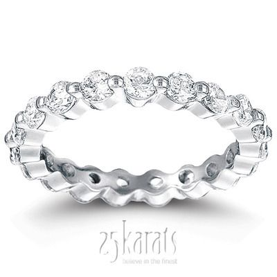 Single Shared Prong Round Cut Diamond Eternity Wedding Band 126