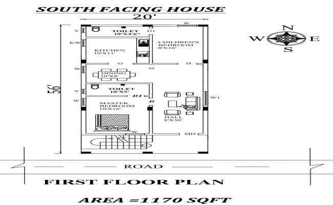 20 x56 2bhk Awesome South facing First floor House Plan As Per Vastu Shastra Autocad DWG and Pdf file details